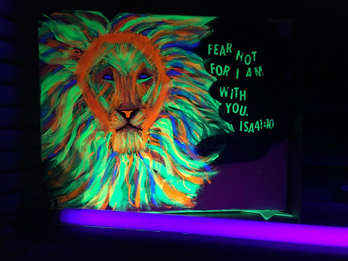Lion of Judah Black light painting